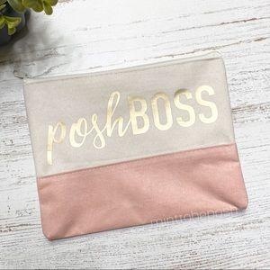 Handbags - PoshBoss Faux Suede Cosmetic Bag | POSH Swag